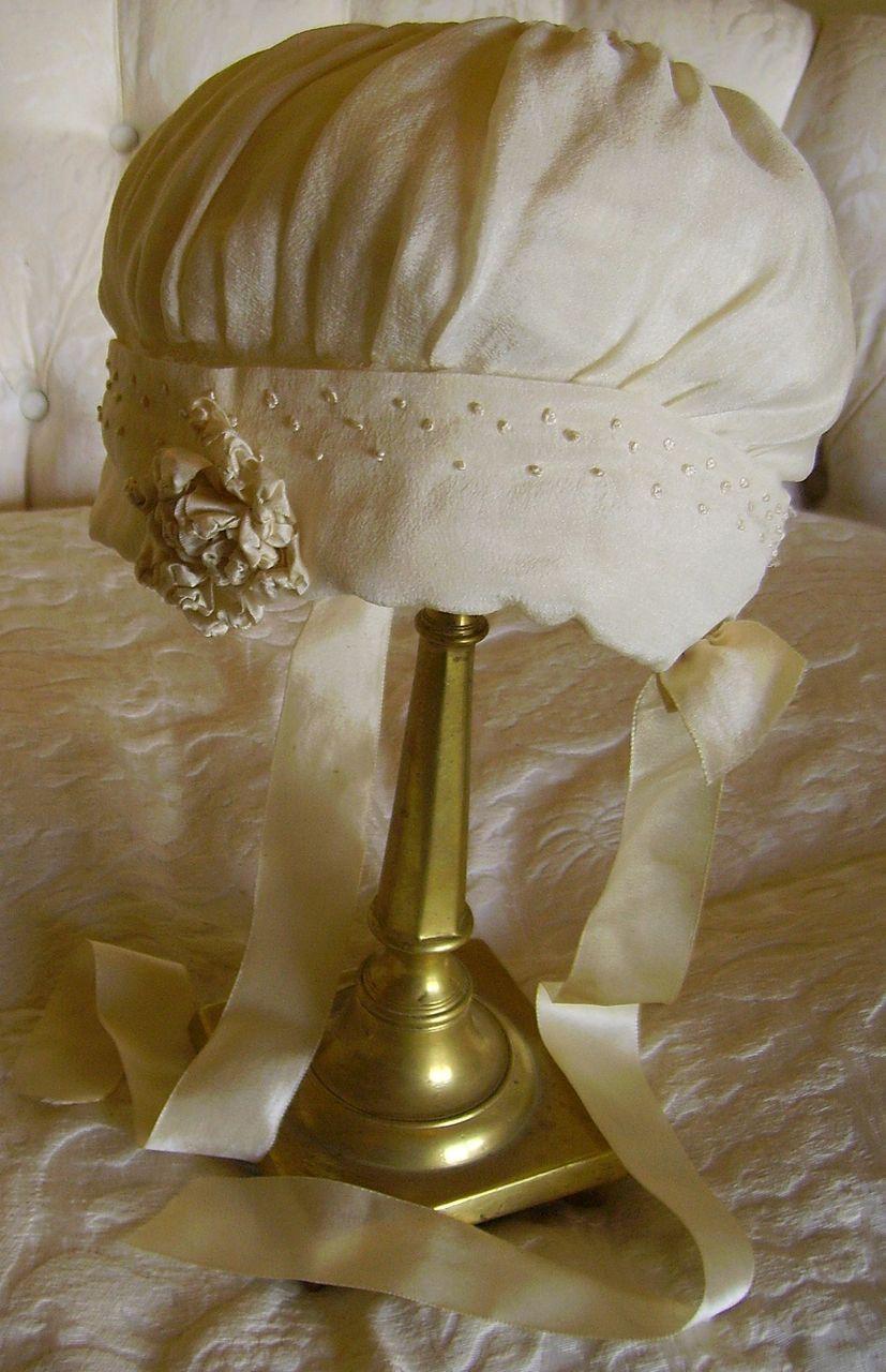 Cream Silk Baby Bonnet