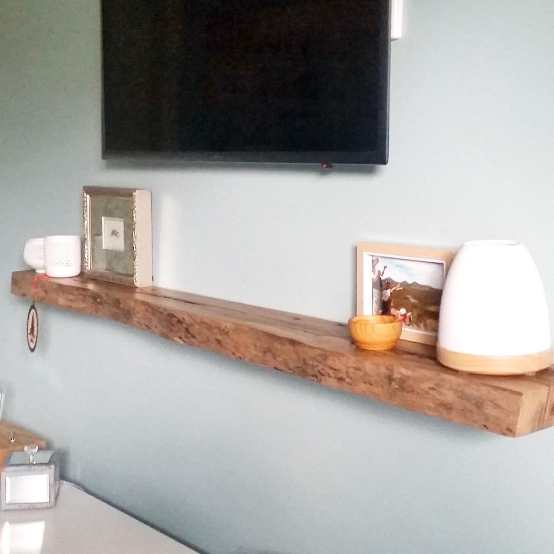 Timber Floating Shelf Under Tv In Natural Live Edge Marri Timber Floating Shelves Floating Shelves Living Room Reclaimed Wood Floating Shelves