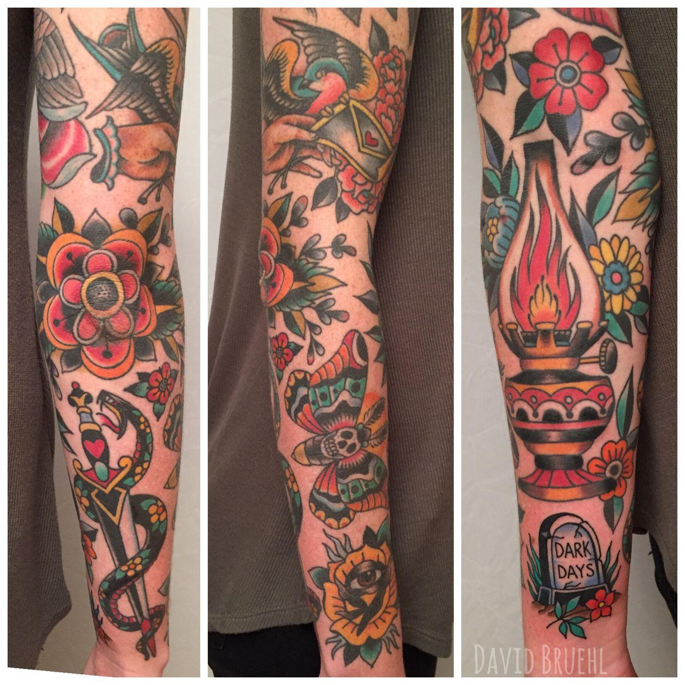 Traditional color sleeve tattoo. David Bruehl RedLetter1