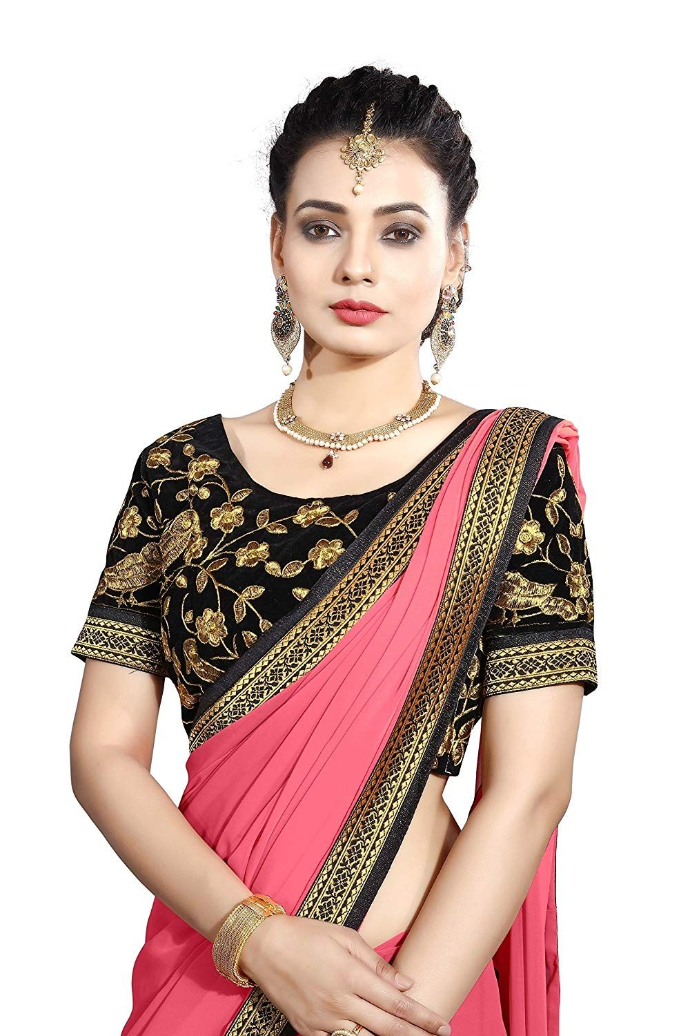 0885b53699705a Saree Center Women's Georgette Saree (Akshara_Pink_Free Size): Amazon.in:  Clothing & Accessories