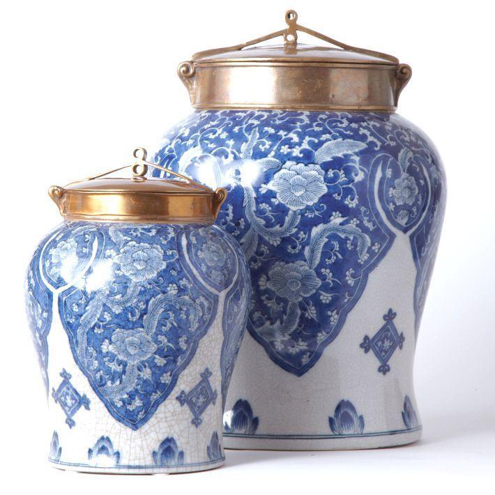 Chinese Blue White Porcelain Floral Tea Jar Free Hand Painted Bronze Lid Antiqued Glazed Finish Large Blue And White China Blue White Decor White Jar