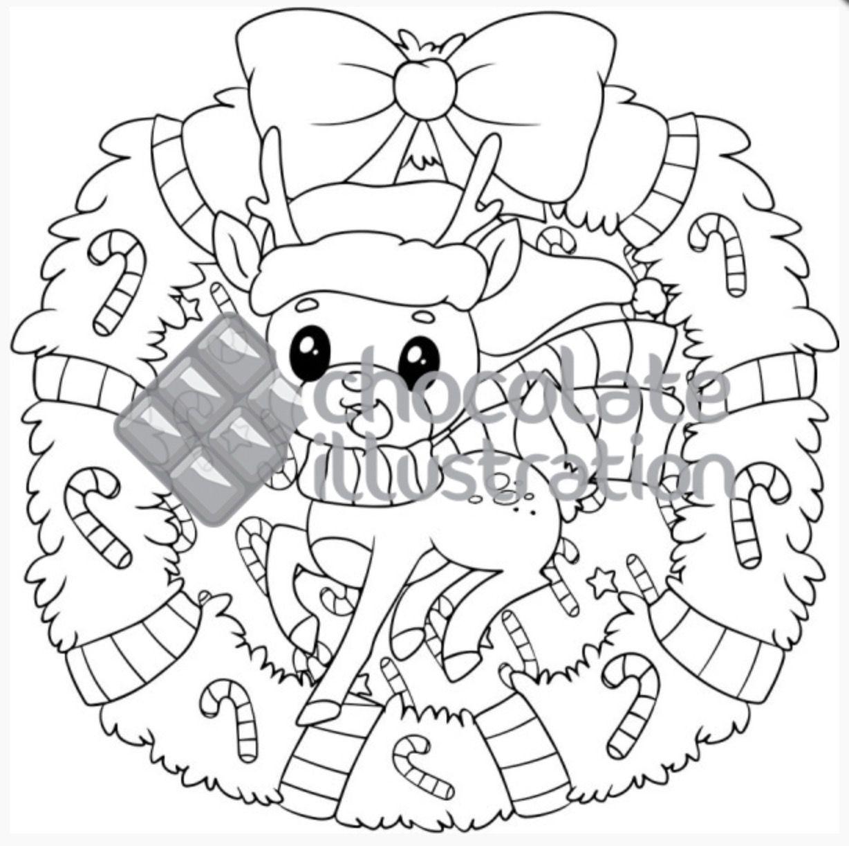 """Ilustración para colorear """"¡Feliz Navidad! de la artista"""