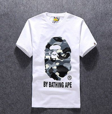 cdd18c68b CK_abc New Arrived Men's Japan Camo Ape Man Logo Bape Cotton T-shirt White L
