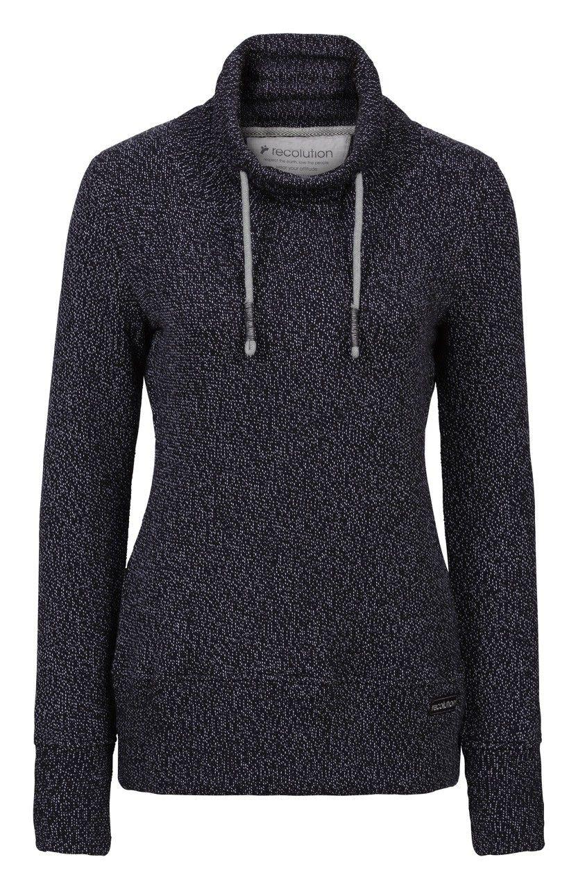 Fair trade Pullover Frauen Strick black grey Bio Baumwolle