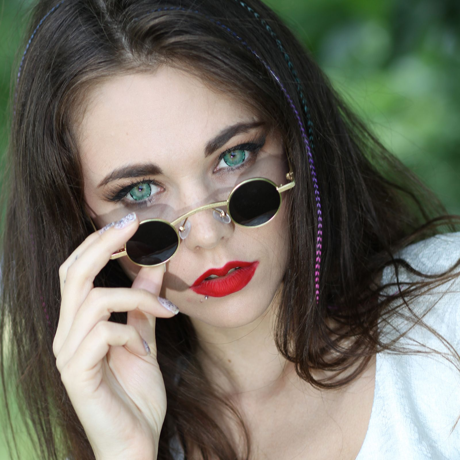 f1b03a8438a round gold metal sunglasses retro Victorian Goth Steampunk polarized lens Hi  Tek Alexander