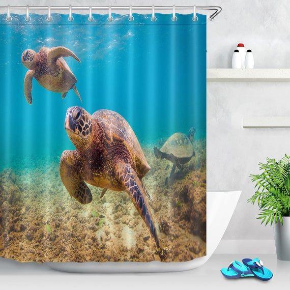 Sea Turtle Shower Curtains For Bathroom Polyester Fiber Shower