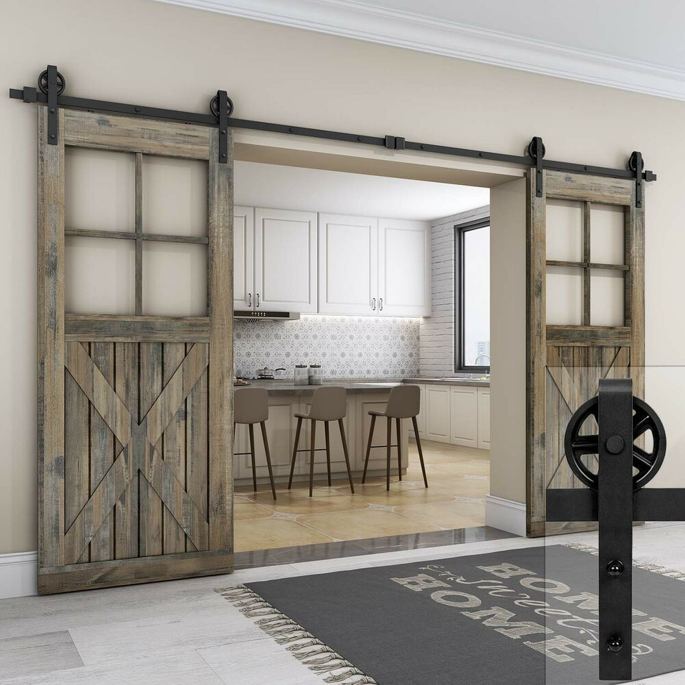Modern Big Spoke Wheel Sliding Double Barn Door Hardware Track Kit 8 10 12ft Easelife Barn Door Hardware Barn Door Sliding Barn Door Hardware