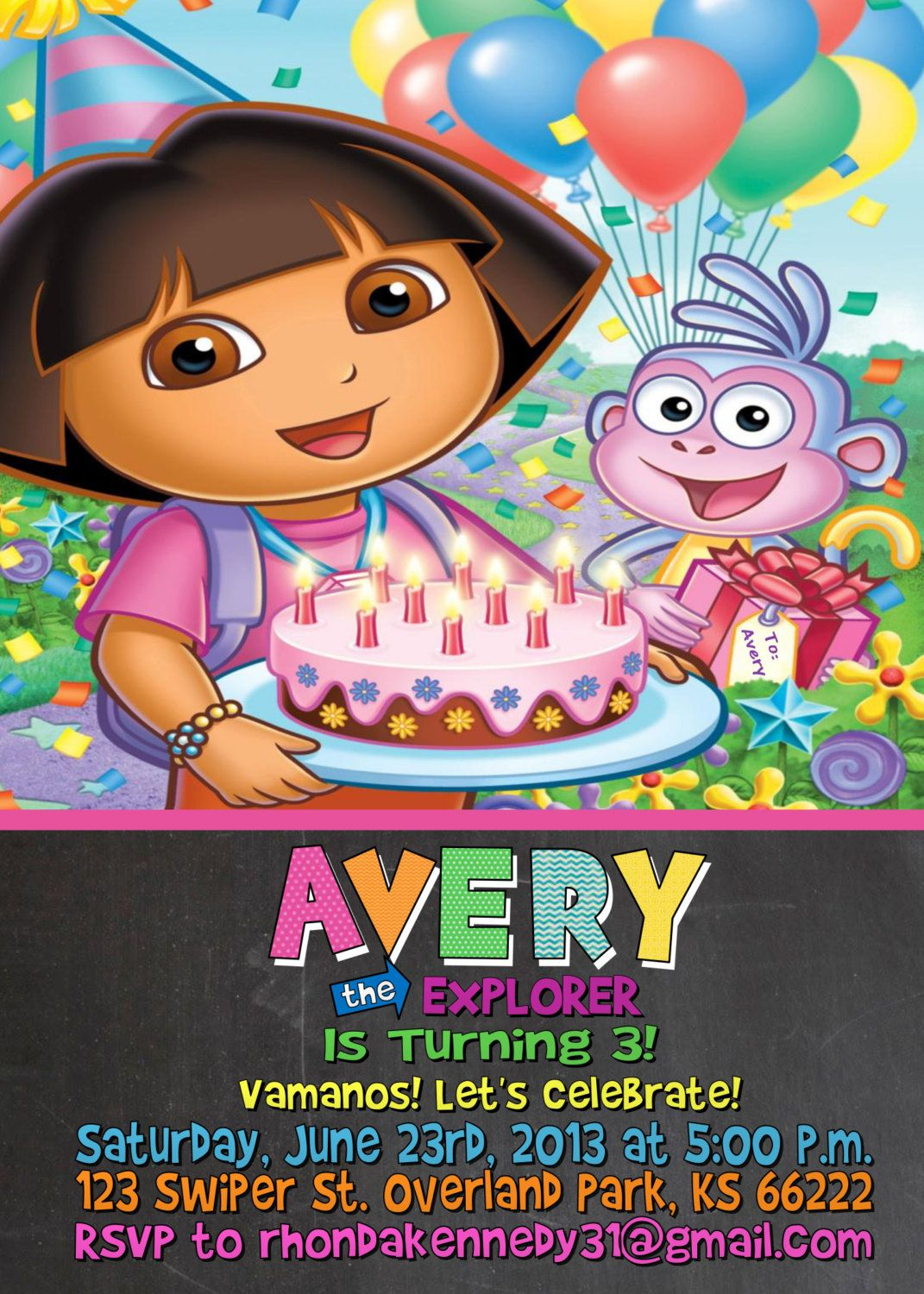 Dora The Explorer Birthday Party Invitation By