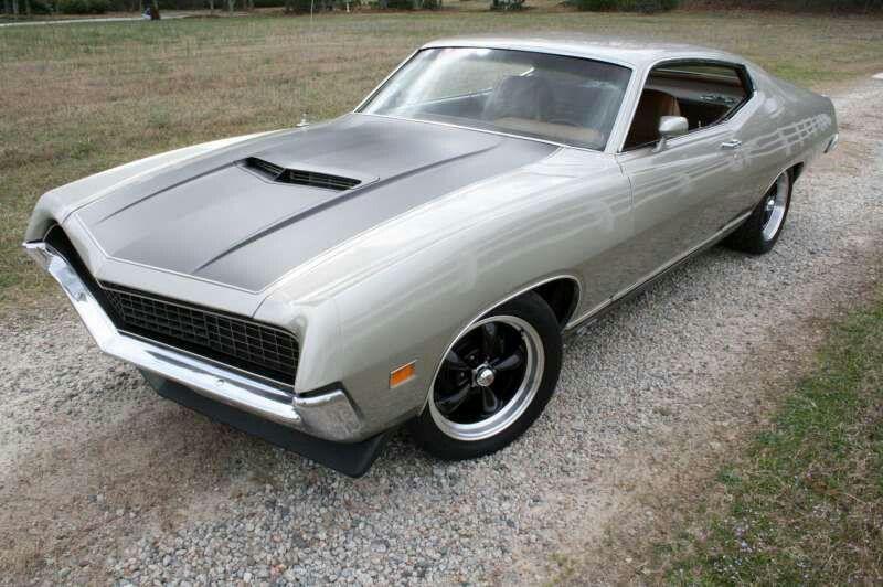 71 Torino Silver Grey And Black Hood Sleek Muscle Ford
