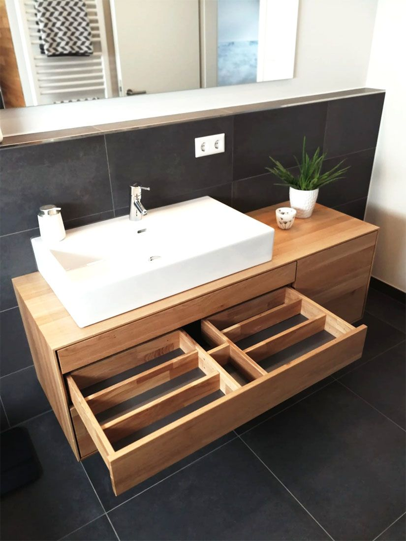 Waschtischunterschrank, aus, Holz, modern, massiv, Eiche ...