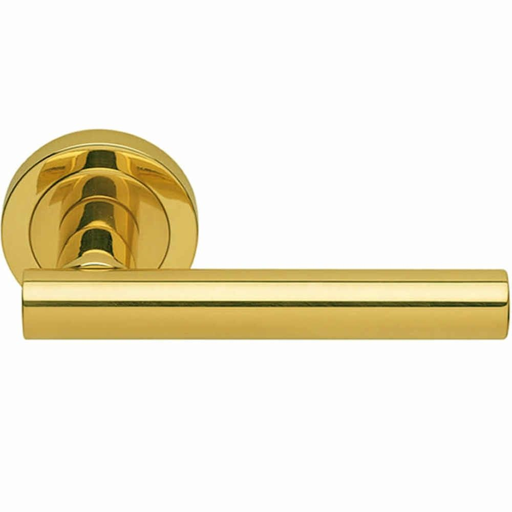 Carlisle Brass Calla Lever on Round Rose Door Handle Polished Brass ...