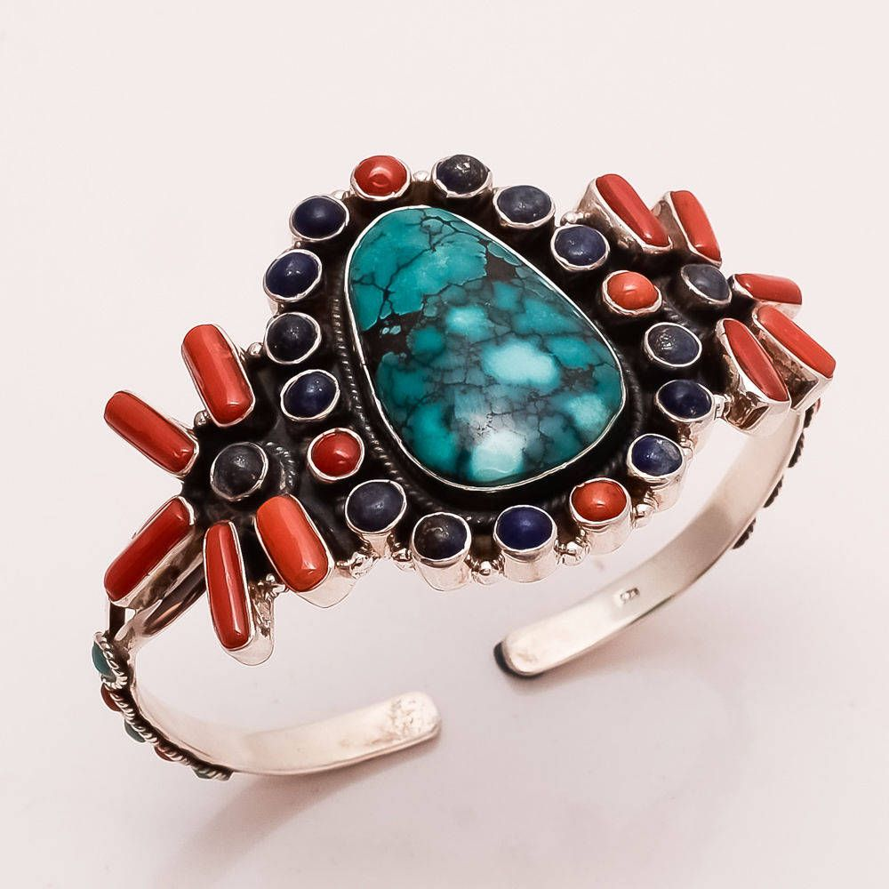Engagement & Wedding Natural Turquoise Red Coral Lapislazuli Pendant 925 Sterling Silver Fine Jewelry