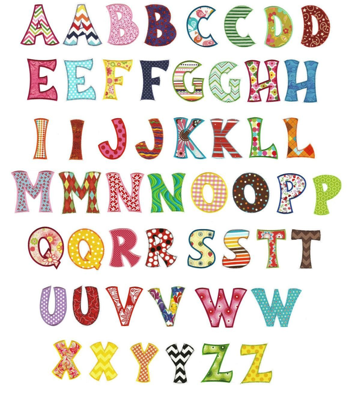 Whimsical applique machine embroidery alphabet font