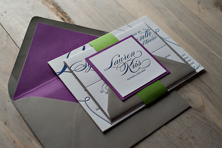 Letterpress Wedding Invitations Grey Navy Purple Green