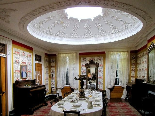 1861 interior   Gaineswood   Demopolis  Alabama  dining room with a     1861 interior   Gaineswood   Demopolis  Alabama  dining room with a  matching dome in library across hallway