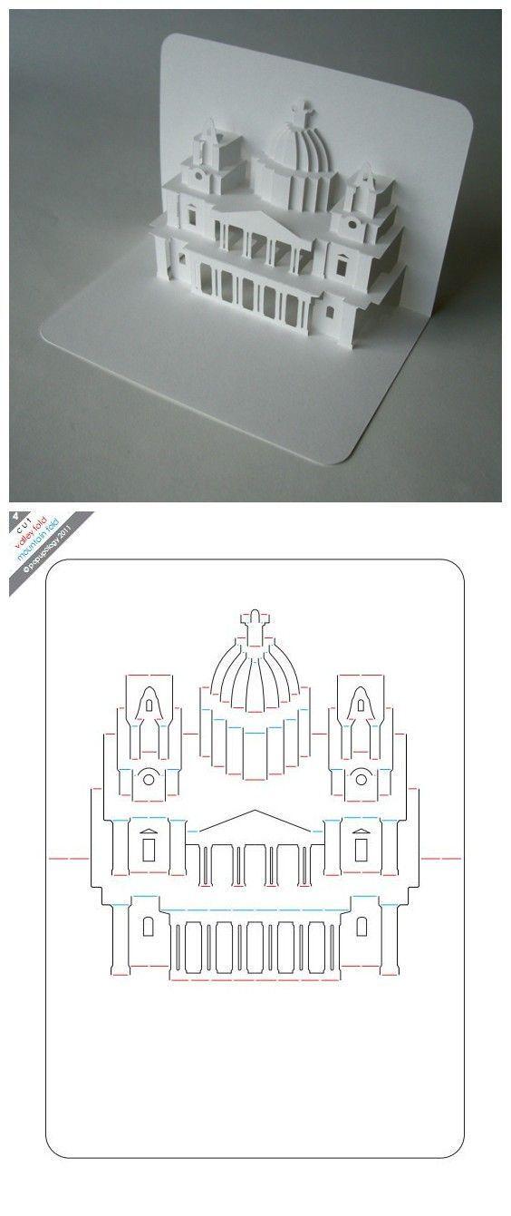 3d Castle Card Template Diy Paper Paper Pop Origami Architecture