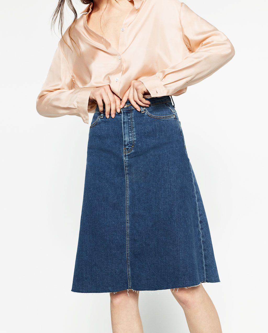Image 4 of CLASSIC DENIM SKIRT from Zara | Zara | Pinterest ...