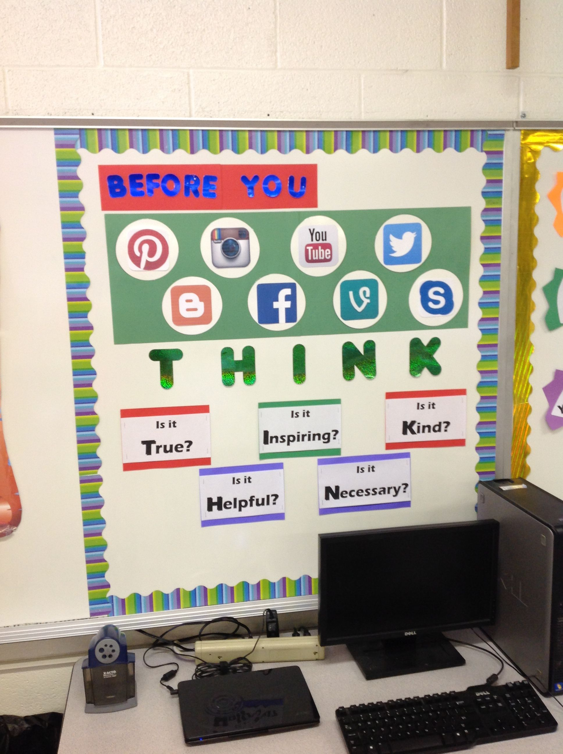 Classroom Decor Ideas Middle School ~ Social media classroom bulletin board
