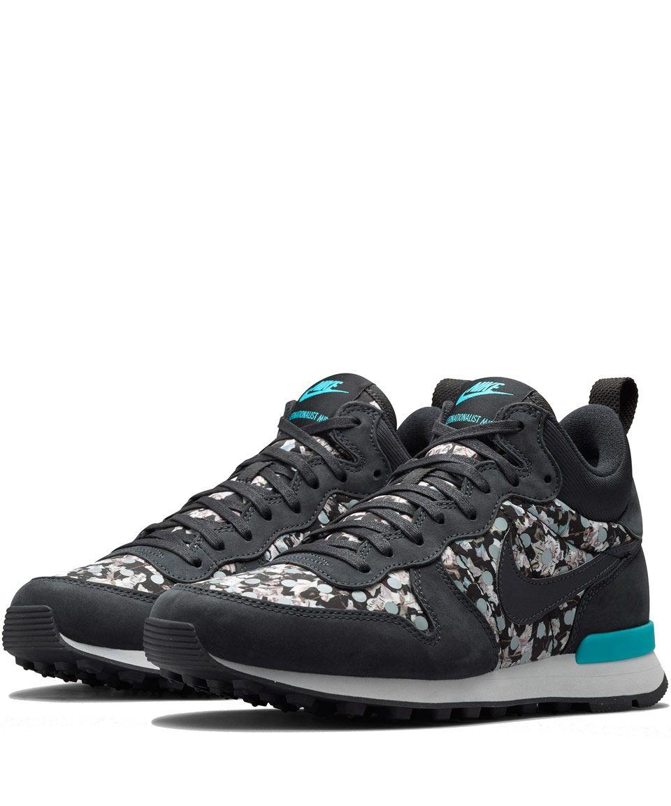 reputable site 86ec2 65b4a ... Nike x Liberty Dark Grey Belmont Ivy Liberty Print Internationalist Mid  Trainers Shoes by Nike ...
