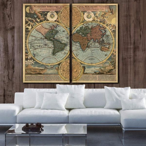 1700s vintage world map canvas wall art wall maps office walls 1700s vintage world map canvas wall art gumiabroncs Images