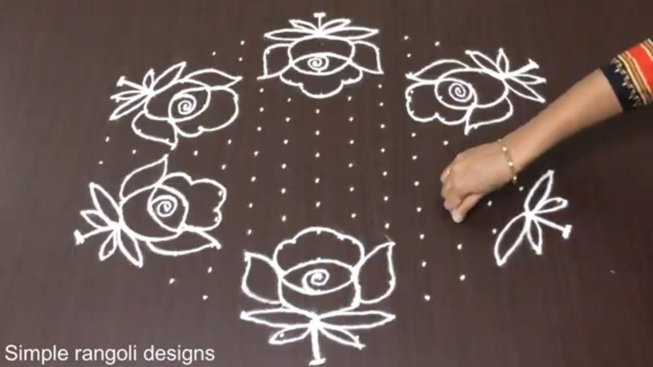 Rose Flower Kolam Designs With 15 8 Dots Chukkala Muggulu With Dots Rangoli Design Rangoli With Dots Rangoli Designs Rangoli Designs With Dots