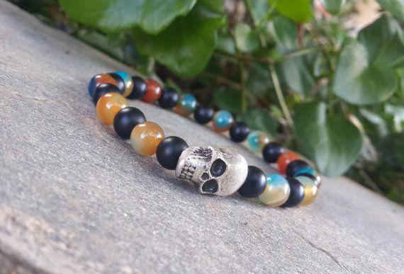 #skull #skullbracelet #menbracelet #silver #silverskull #etsyaaa #etsymntt #etsy #GiftForMyTeam #giftforhim #formen #skulljewelry