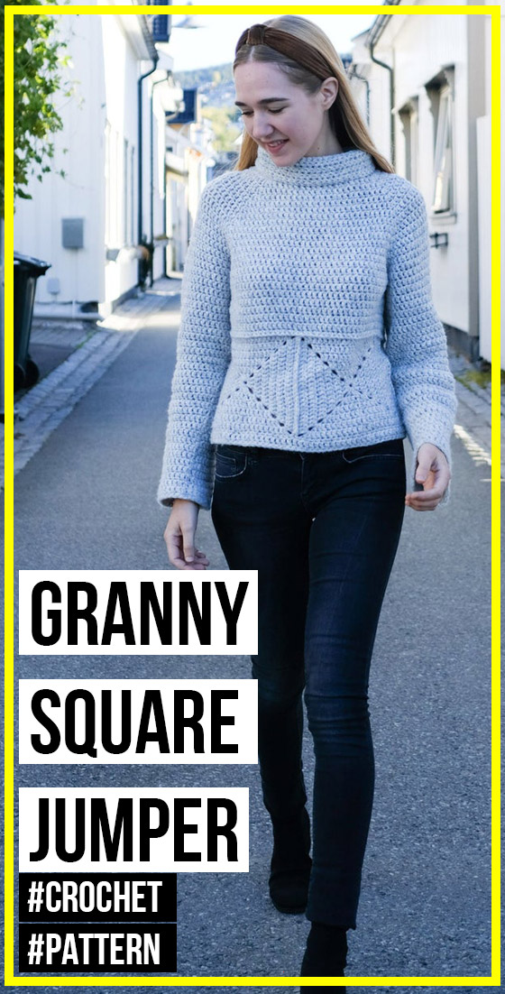 Photo of crochet The Solid Granny Square Jumper pattern