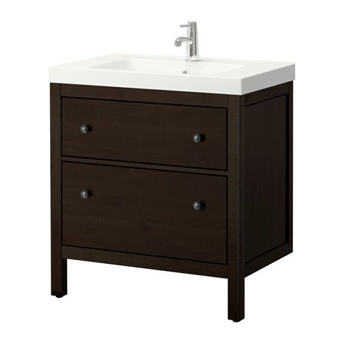 ikea hemnes odensvik meuble pour lavabo 2 tiroirs brun noir en d pla ant simplement le. Black Bedroom Furniture Sets. Home Design Ideas
