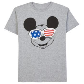 Boys+8-20+Disney's+Mickey+Mouse+Stars+&+Stripes+Glasses+Tee