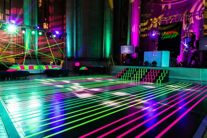 See How Lasers Inspired The Neon Look Of A Bat Mitzvah In