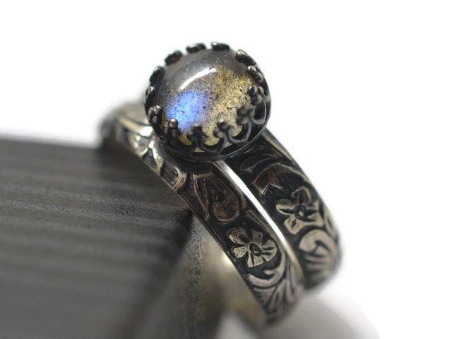 Personalized Wedding Set Labradorite Engagement Ring Engraved