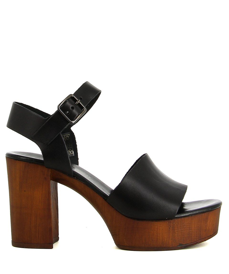 195 2 Baia Vista 13203810 All Black Zomp Heeled Mules Platform Sandals Shoes