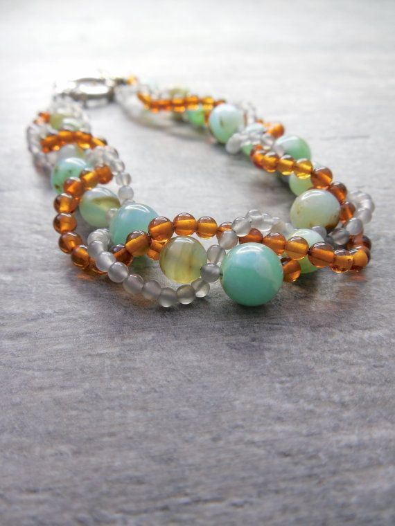 Opal Bracelet Autumn Jewelry Rustic Fall Colors by Rootiebirds