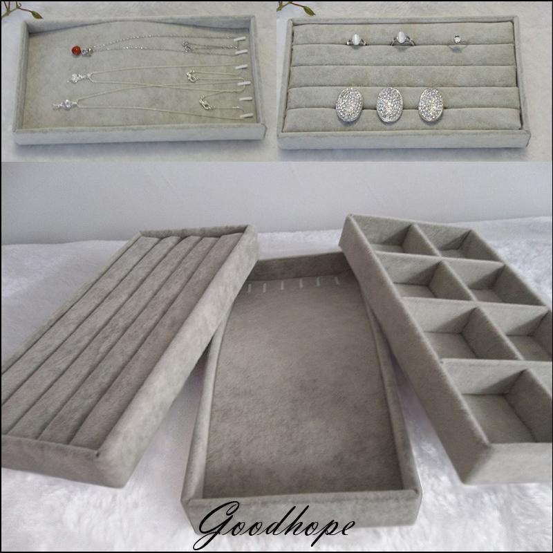 Organizer Popular Grey Velvet 11x22cm Jewelry Display Tray Kit