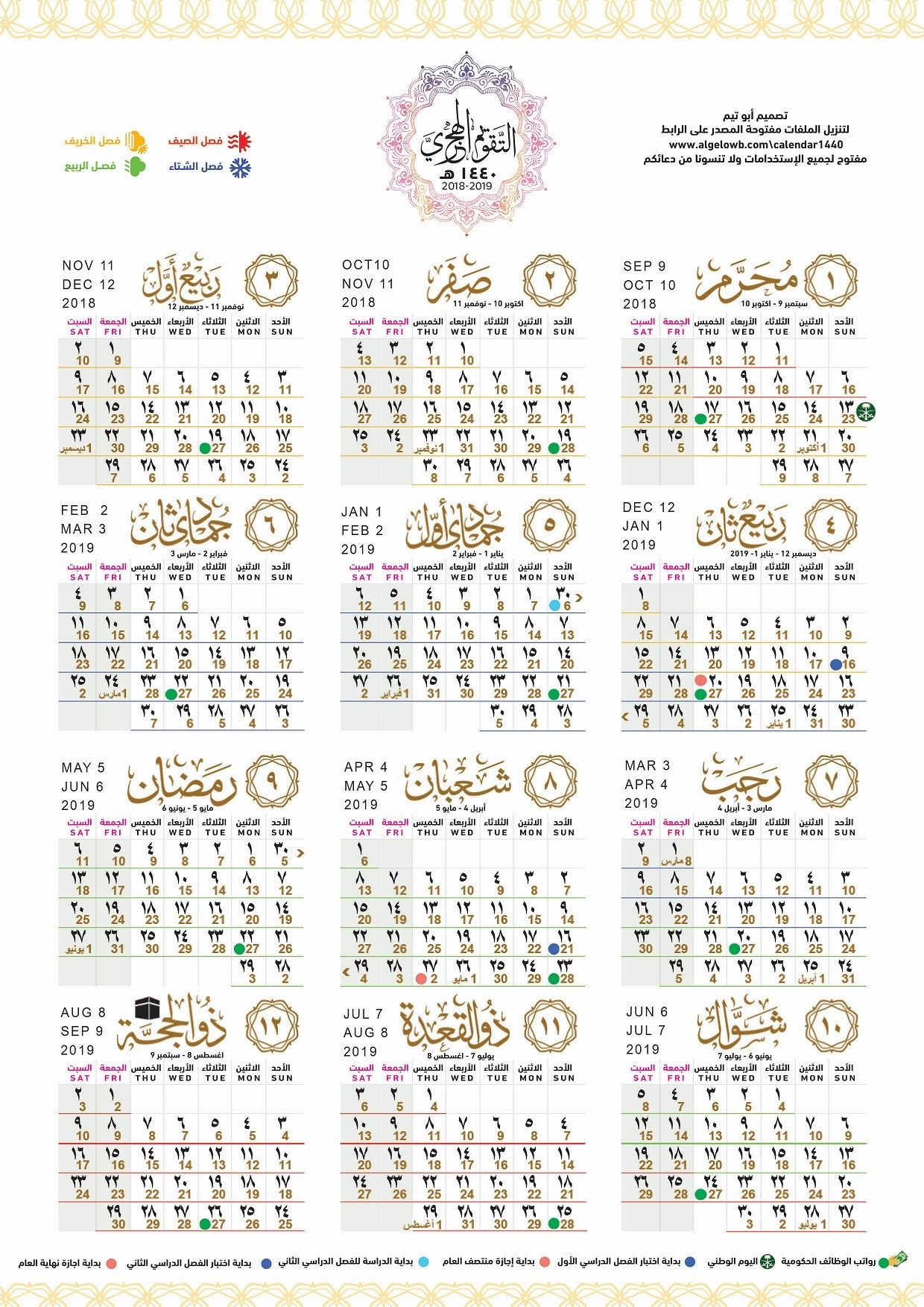 التقويم الهجرى ١٤٤٠ Islamic Calendar Hijri Calendar 2020 Calendar Template