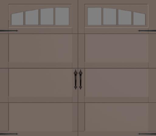 Overhead Garage Door 371a W Wyndbridge Arch Windows In Terra Bronze Finish With Spear Hinge And Spear Handle Garage Doors Overhead Garage Door Arched Windows