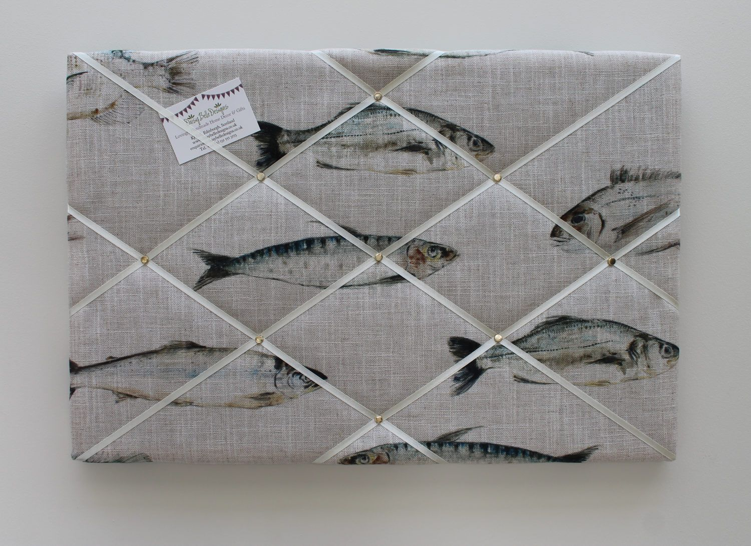 Fabric Memo Board 60cm X 40cm In Fish Linen Fabric Fabric Pin