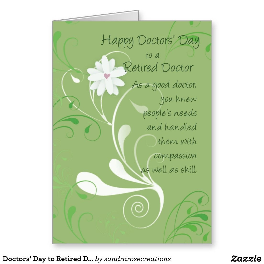 Doctors Day To Retired Doctor Green Swirls Card Medical