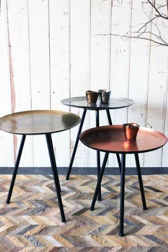 Set Of Three Metallic Side Tables Silver Bronze Copper