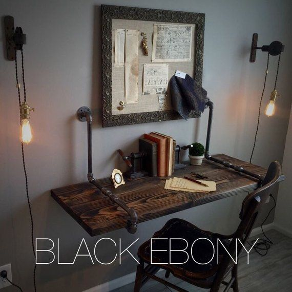 Iron Pipe & Solid Wood Desk FREE SHIPPING! Suspended Wall Mounted / Standing Computer Laptop - Industrial Floating Shelf Table #barbershopideas