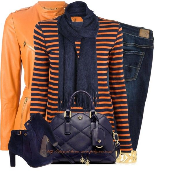 """""""Navy & Orange"""" by stay-at-home-mom on Polyvore"""