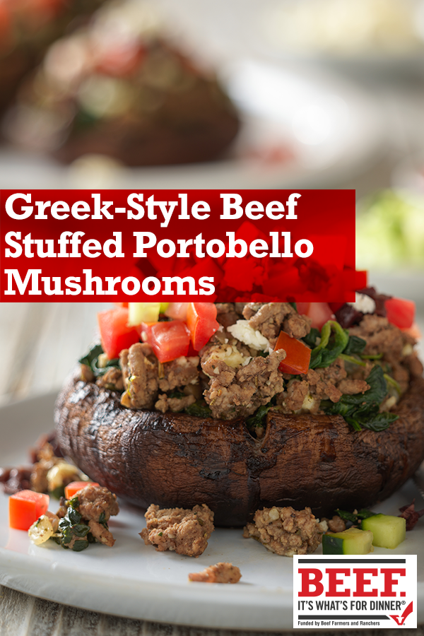 Greek Style Beef Stuffed Portobello Mushrooms Recipe Recipes Greek Recipes Portabella Mushrooms Recipes