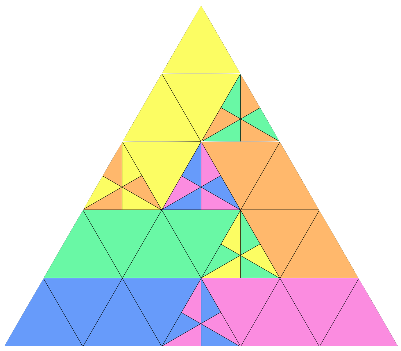 It's easy to divide an equilateral triangle into n^2