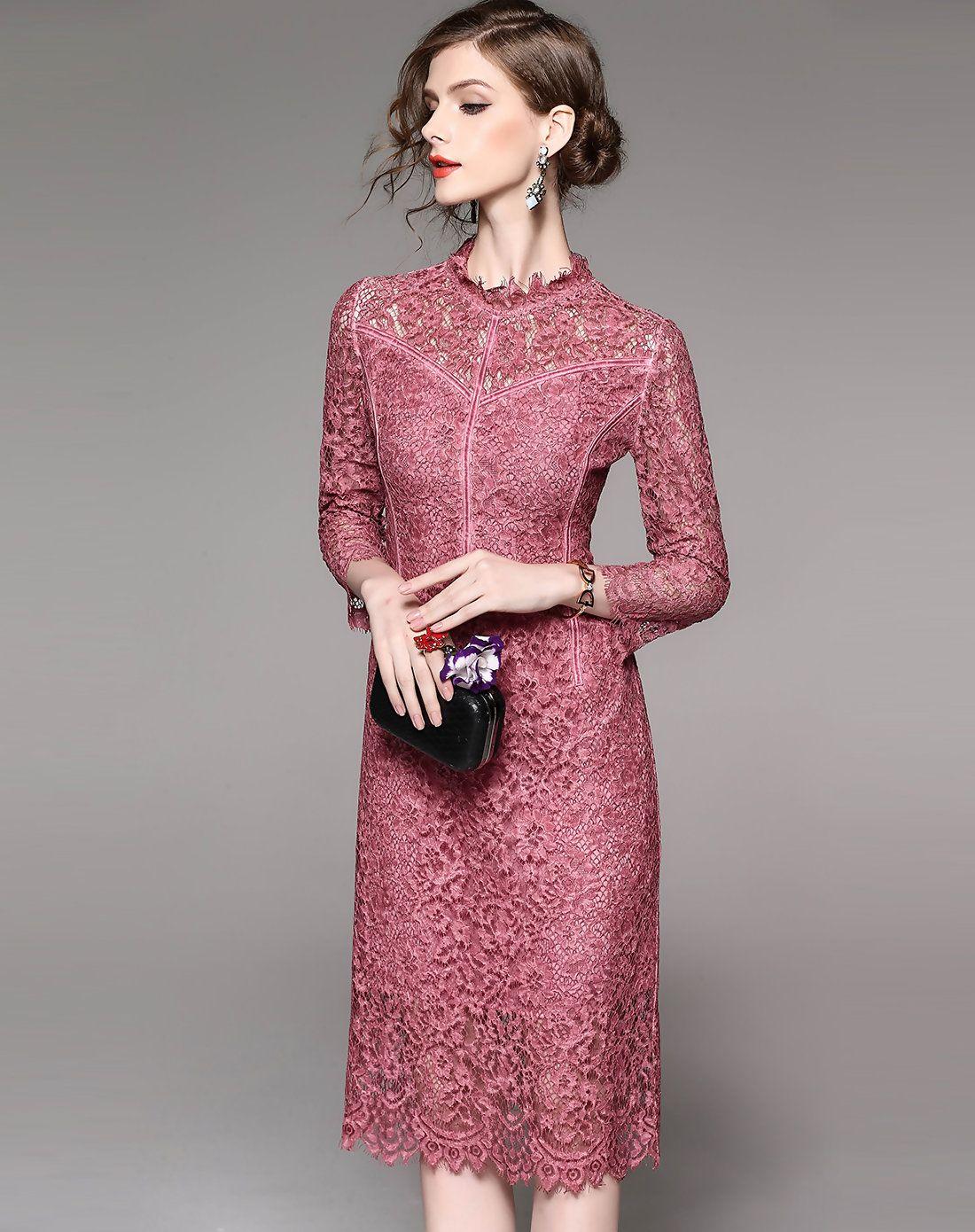 Pink Lace Stand Collar 3 4 Sleeve Midi Sheath Dress Adorewe Com Naryadnye Platya Platya Zhenskaya Odezhda [ 1390 x 1100 Pixel ]