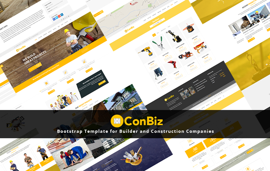 "Bootstrap Website Templates Span Itemprop""name""conbiz  Free Bootstrap Construction Business"