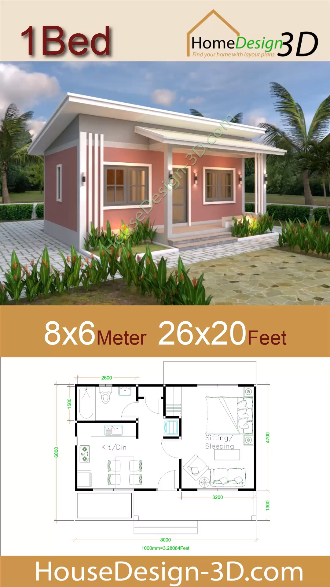 Small House Plans 8x6 With One Bedrooms Shed Roof Video Small House Design House Plans Small House Layout
