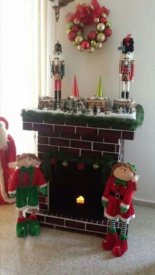 Resultado de imagen para como hacer chimeneas navide as en - Chimeneas de adorno ...