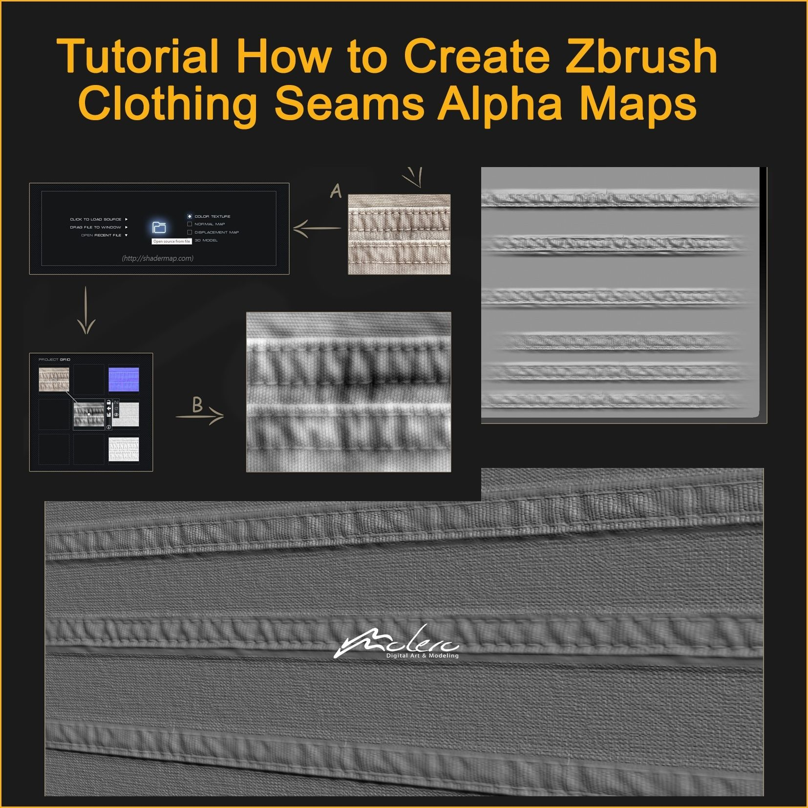 Tutorial How to Create ZBrush Cloth Seams Alpha Displacement Map