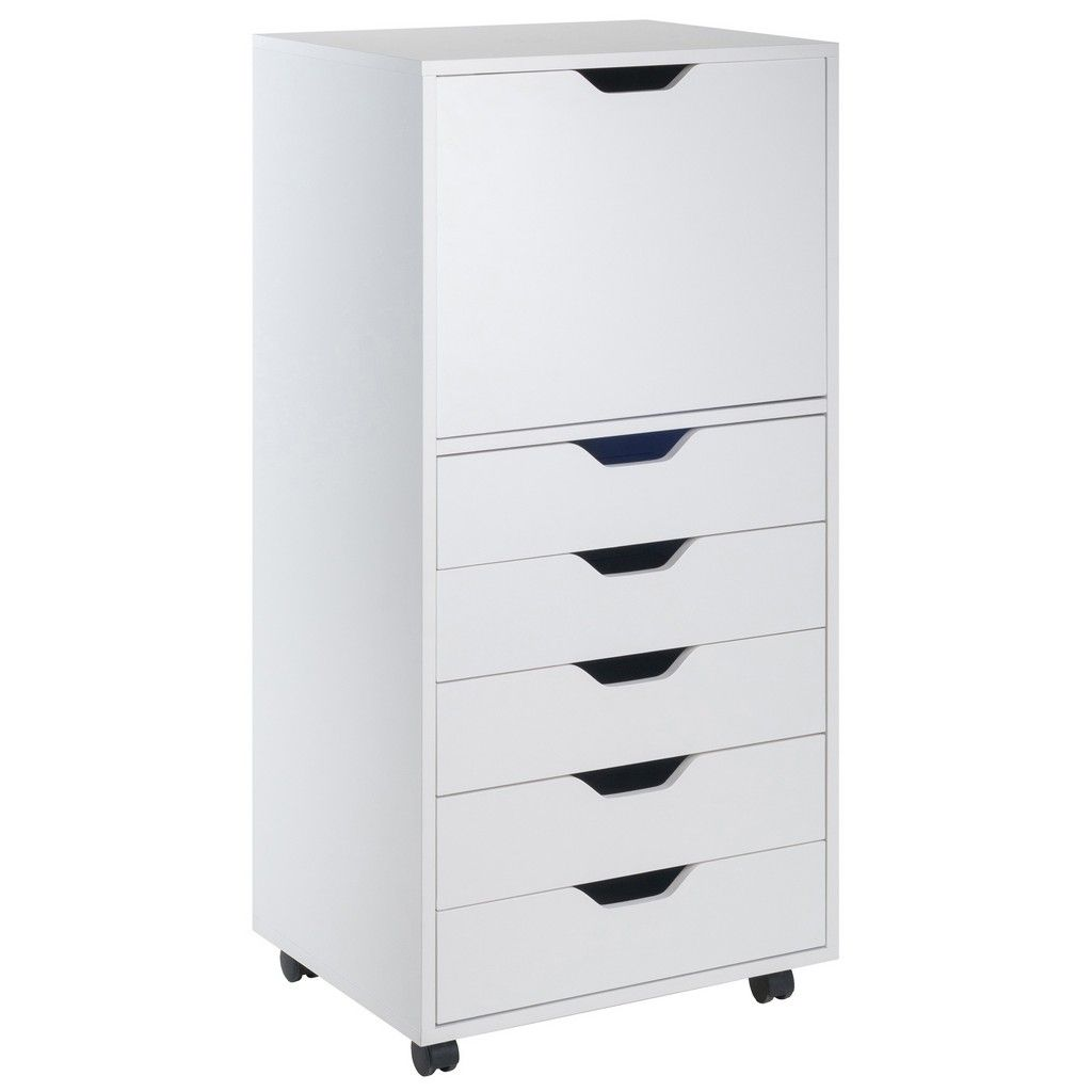 halifax 5drawer high cabinet  cart in white  winsome