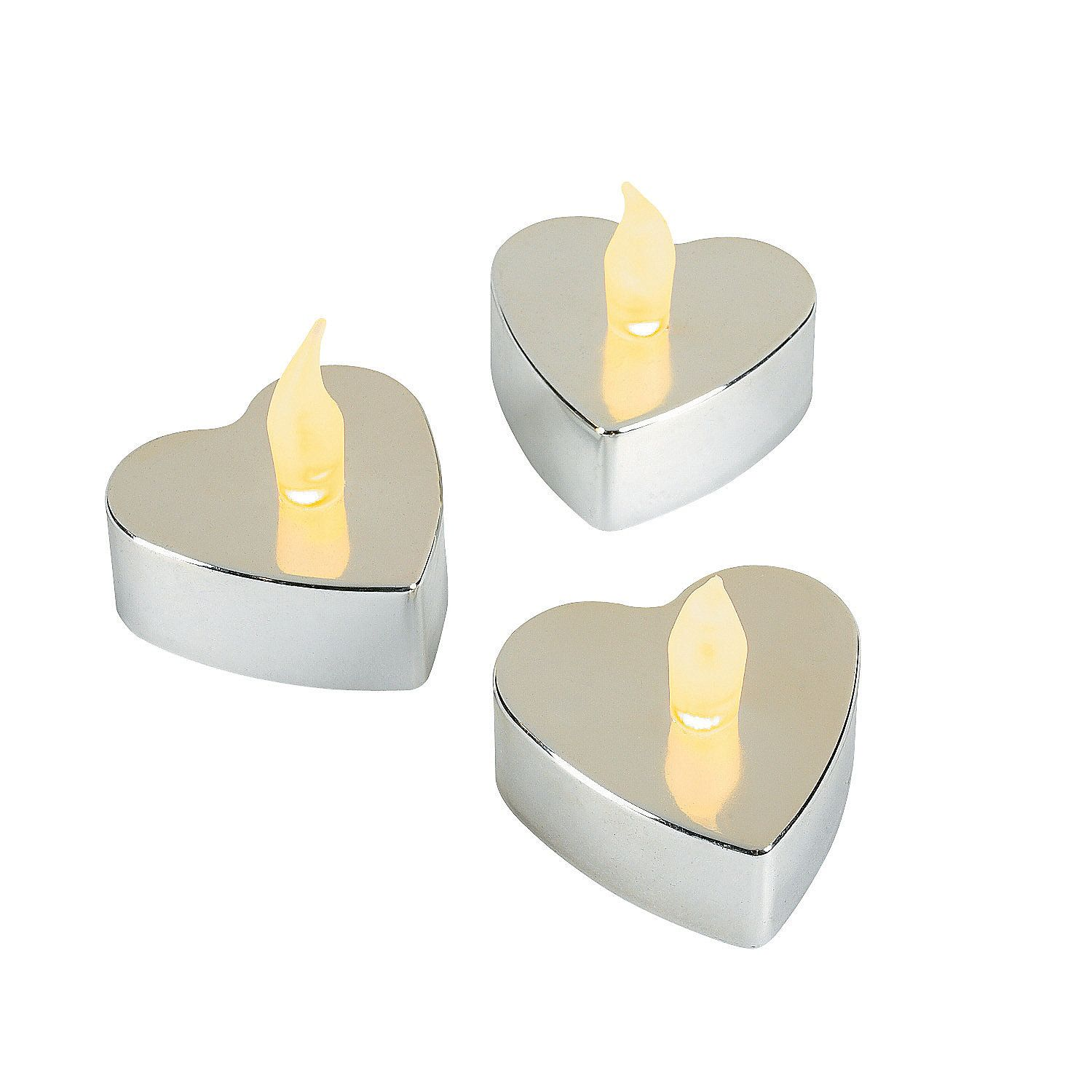 Heart-Shaped Silver Metallic Battery Operated Tealight Candles ...